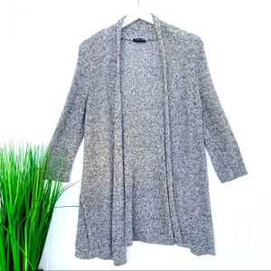 Eileen Fisher Grey Open Front Knit Cardigan PS